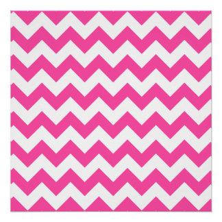 Pink White Zigzag Chevron Pattern Girly Poster