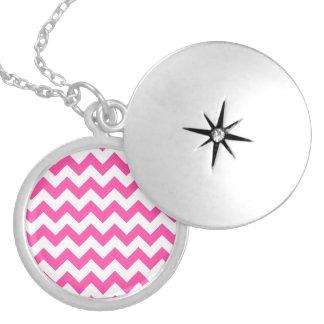 Pink White Zigzag Chevron Pattern Girly Round Locket Necklace
