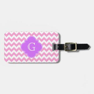 Pink Wht Chevron Zigzag Lilac Quatrefoil Monogram Luggage Tags