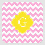 Pink Wht Chevron Zigzag Yellow Quatrefoil Monogram Square Sticker
