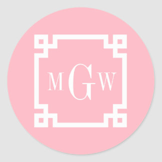 Pink Wht Greek Key #2 Framed 3 Init Monogram Classic Round Sticker