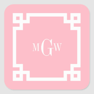 Pink Wht Greek Key #2 Framed 3 Init Monogram Square Stickers