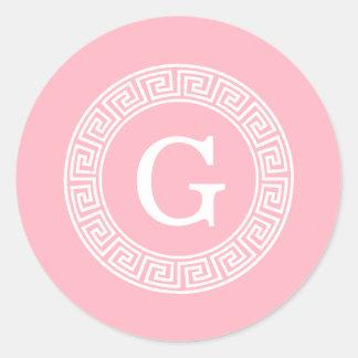 Pink Wht Greek Key Rnd Frame Initial Monogram Classic Round Sticker