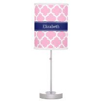 Pink Wht Moroccan #5 Navy Blue 5c Name Monogram Desk Lamp