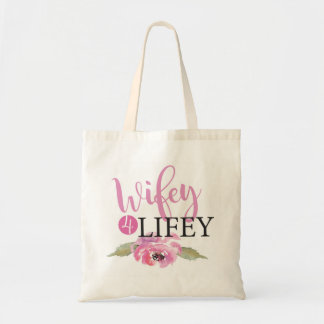 Pink Wifey 4 Lifey Bride Floral Tote Bag Gift Item