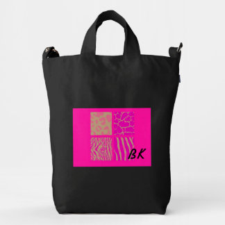 Pink Wild Animal Patterns with Initials Duck Bag