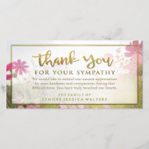 Pink Wild Flower Golden Thank You Sympathy Card