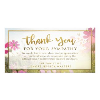 Pink Wild Flower Golden Thank You Sympathy Card