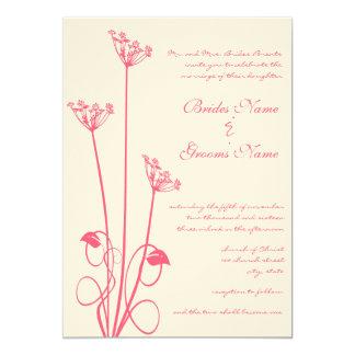 Pink Wild Flower Swirl Wedding Invitation