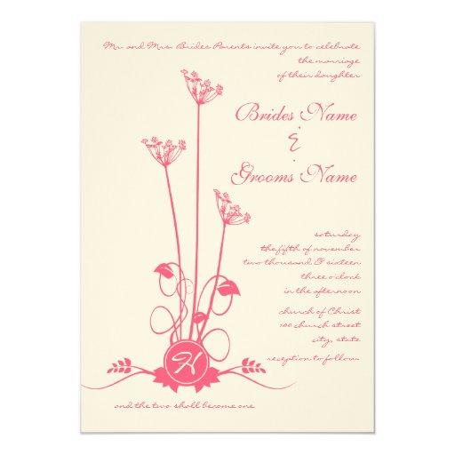 "Pink Wild Flower Swirl Wedding Invitation 5"" X 7"" Invitation Card"