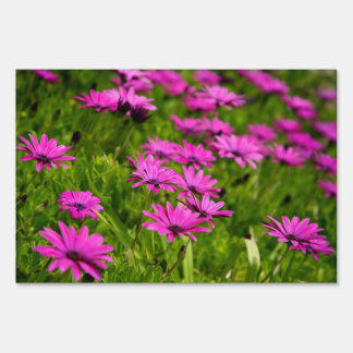 Pink wild flowers lawn sign