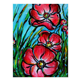 Pink Wild Flowers Poster
