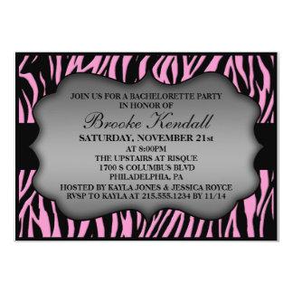 Pink Wild Night Zebra Print Bachelorette Party 5x7 Paper Invitation Card