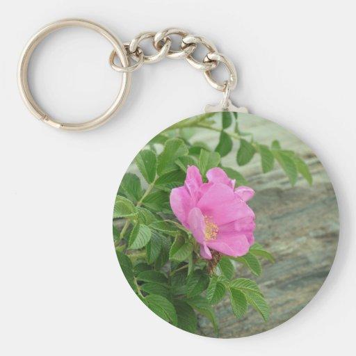 Pink Wild Rose Basic Round Button Keychain