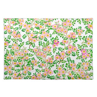 Pink Wild Rose Floral Placemats