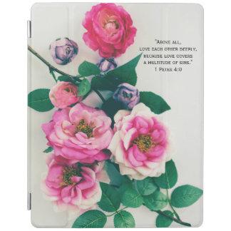 Pink Wild Rose Flower Bouquet Love Bible Verse iPad Smart Cover