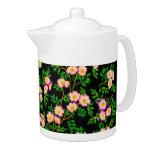 Pink Wild Rose Flowers Teapot
