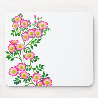 Pink Wild Roses Floral Mousepad