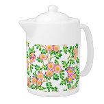 Pink Wild Roses Floral Teapot