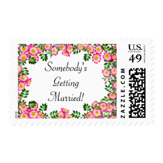 Pink Wild Roses Getting Married Postage