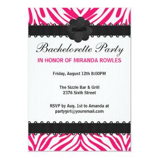 Pink Wild Zebra Bachelorette Party Card