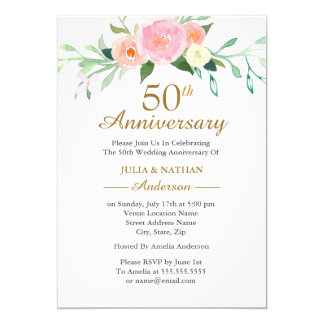 Pink Wildflow Watercolor 50th Wedding Anniversary Invitation