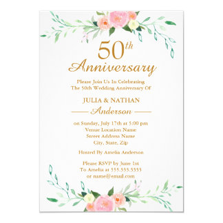 Pink Wildflower Floral 50th Wedding Anniversary Invitation