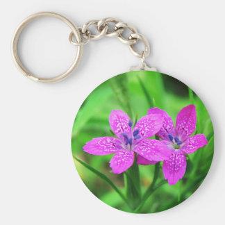 Pink Wildflower Keychain