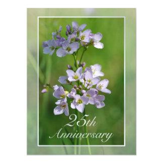 "Pink wildflowers Silver Wedding party invitation 6.5"" X 8.75"" Invitation Card"