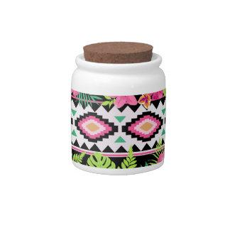 Pink Wildflowers Tribal Pattern Candy Jar