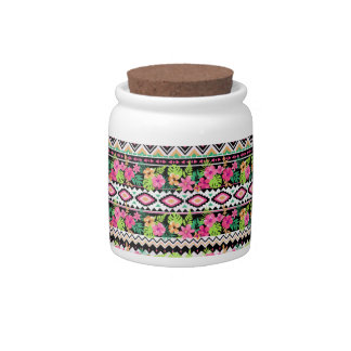 Pink Wildflowers Tribal Pattern Candy Jars