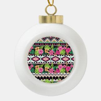 Pink Wildflowers Tribal Pattern Ceramic Ball Christmas Ornament