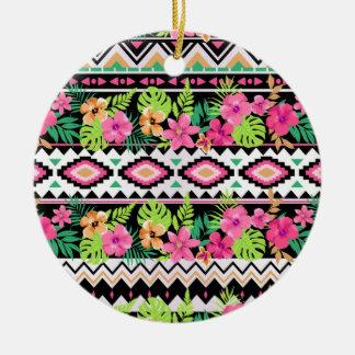 Pink Wildflowers Tribal Pattern Ceramic Ornament