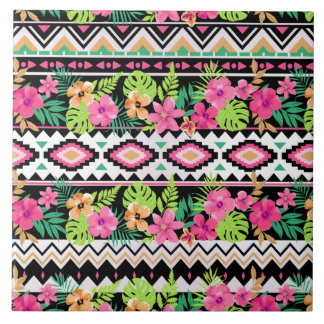 Pink Wildflowers Tribal Pattern Ceramic Tile
