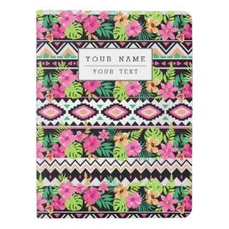 Pink Wildflowers Tribal Pattern Extra Large Moleskine Notebook Cover With Notebook