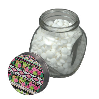Pink Wildflowers Tribal Pattern Jelly Belly Candy Jars