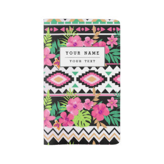 Pink Wildflowers Tribal Pattern Large Moleskine Notebook Cover With Notebook