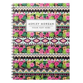 Pink Wildflowers Tribal Pattern Note Books