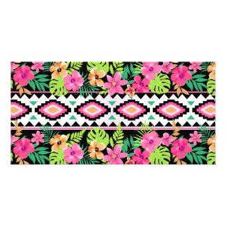 Pink Wildflowers Tribal Pattern Photo Card