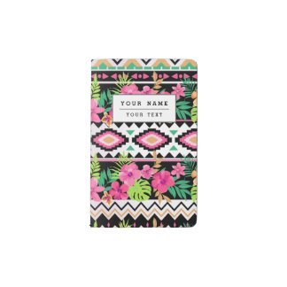 Pink Wildflowers Tribal Pattern Pocket Moleskine Notebook Cover With Notebook