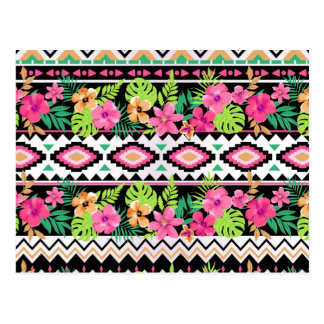 Pink Wildflowers Tribal Pattern Postcard
