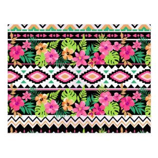 Pink Wildflowers Tribal Pattern Postcard