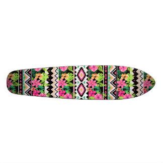 Pink Wildflowers Tribal Pattern Skateboard