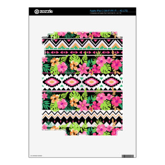 Pink Wildflowers Tribal Pattern Skin For iPad 3