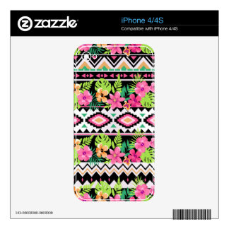 Pink Wildflowers Tribal Pattern Skin For iPhone 4S