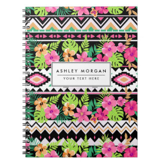 Pink Wildflowers Tribal Pattern Spiral Notebook