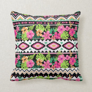 Pink Wildflowers Tribal Pattern Throw Pillow