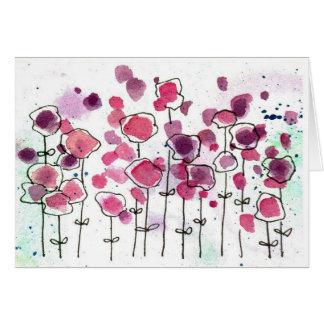Pink Wildlfower Meadow Blank Note Card Watercolor