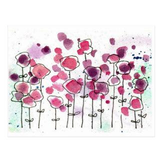 Pink Wildlfower Meadow Post Card Watercolor Flower