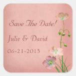 Pink Wildlowers on Burgundy Wedding Square Sticker